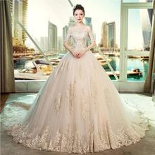 宫廷主婚纱!礼服新娘复古法式结婚一字肩齐地拖尾