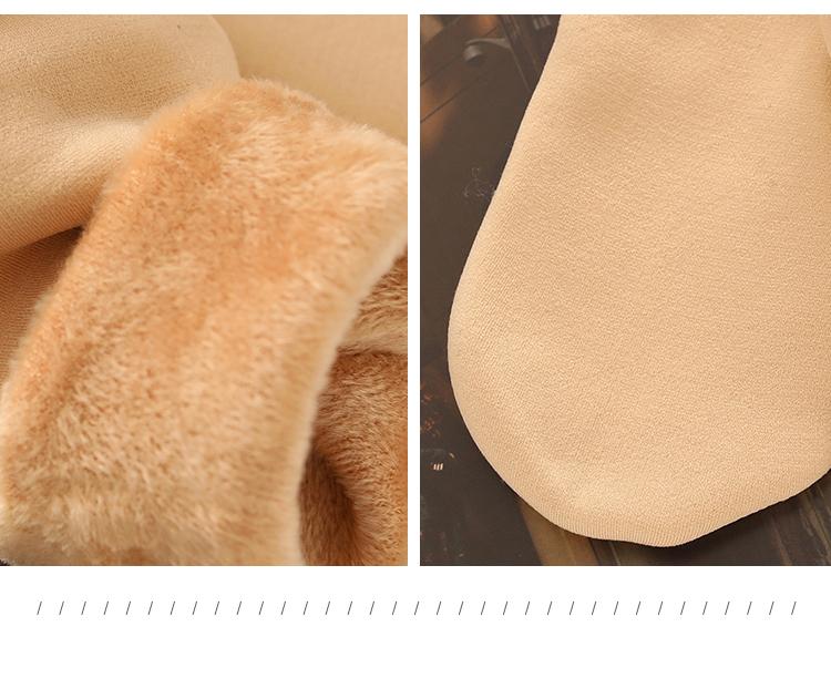 加绒加厚保暖雪地袜光腿肉色中筒长袜子露脚踝神器袜子