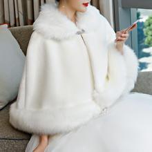 冬季新娘毛披肩婚纱斗篷加厚仿皮草大码红白色结婚旗袍保暖外套