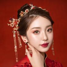 新娘饰品中式红色凤冠头饰耳环古装流苏秀禾礼服婚礼结婚发饰套装