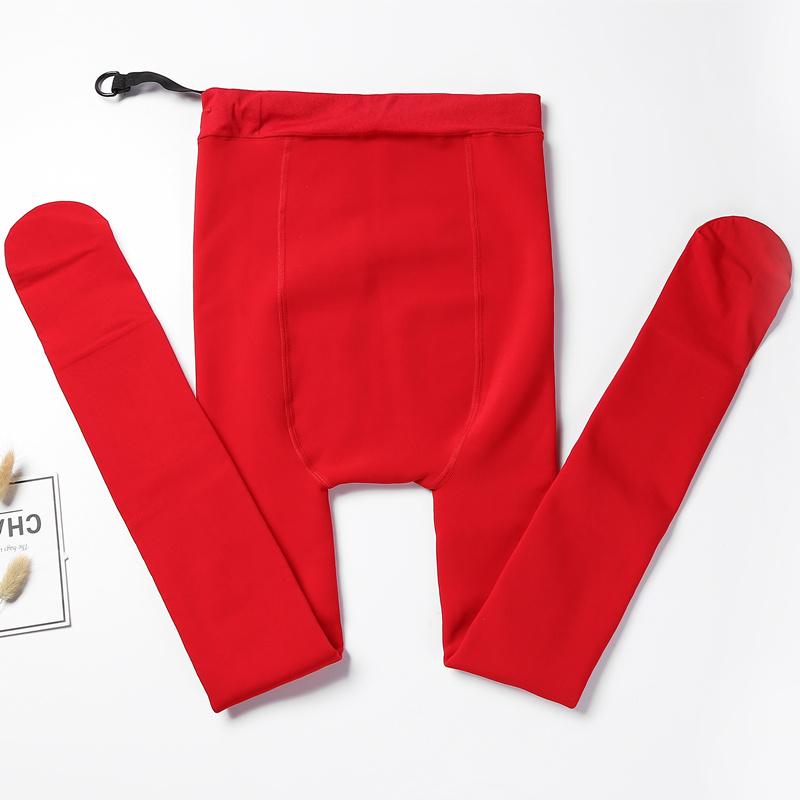 加绒加厚秋冬外穿红色新娘结婚打底裤女肉色保暖棉裤孕妇连裤袜