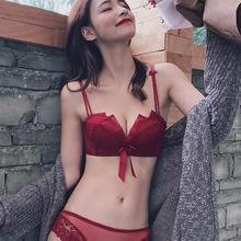 礼服杯无钢圈小胸厚款聚拢内衣本命年红色文胸套装