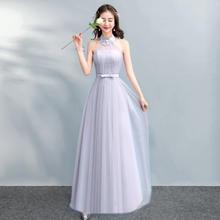 伴娘服长款2018新款秋季灰色中长款伴娘礼服修身姐妹裙宴会礼