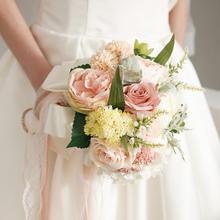 欧式圆形森系多肉仿真新娘结婚手捧花
