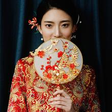 中式比翼连枝新娘团扇