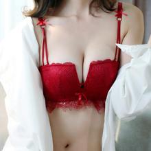 【送内裤】红色性感内衣女无钢圈蕾丝四角杯小胸聚拢薄款文胸套装