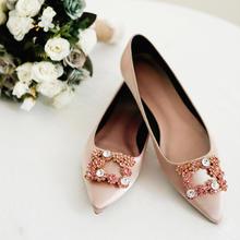 方形水钻新娘平底婚鞋