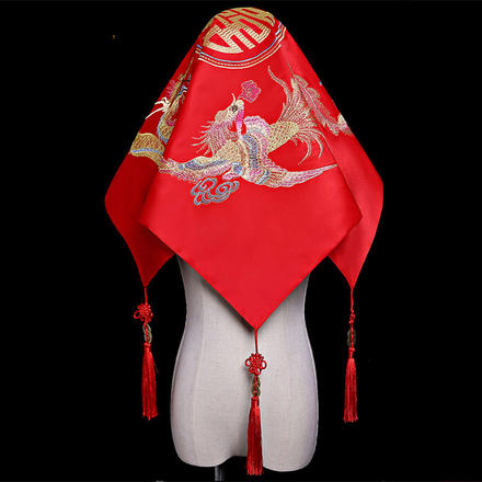 中式龙凤双喜红盖头