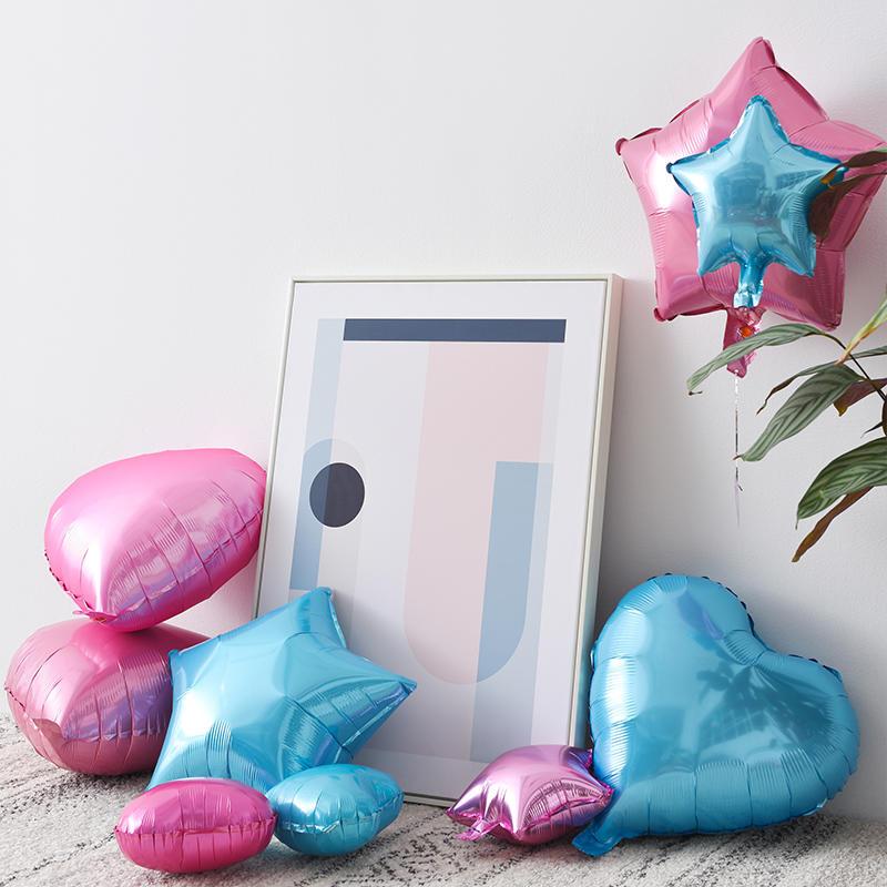 珠光多色铝膜爱心星星气球