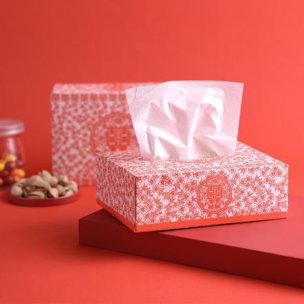 鸳鸯剪纸婚宴一次性抽纸100抽