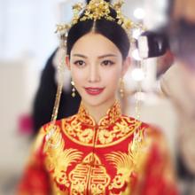 新娘古装秀禾服头饰金色中式流苏凤冠霞帔步摇敬酒服结婚发饰套装