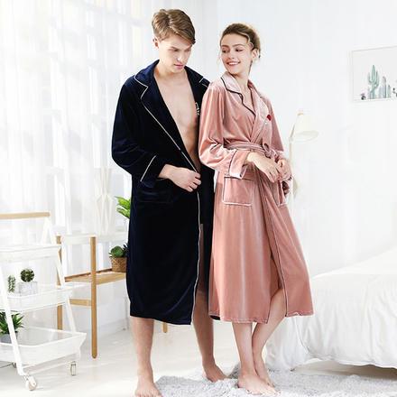 简约时尚 冬季丝绒系带家居情侣睡衣