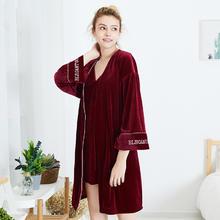 秋冬季红色新娘金丝绒吊带婚礼晨袍睡裙睡袍两件套