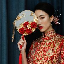 中式凤凰花开新娘团扇