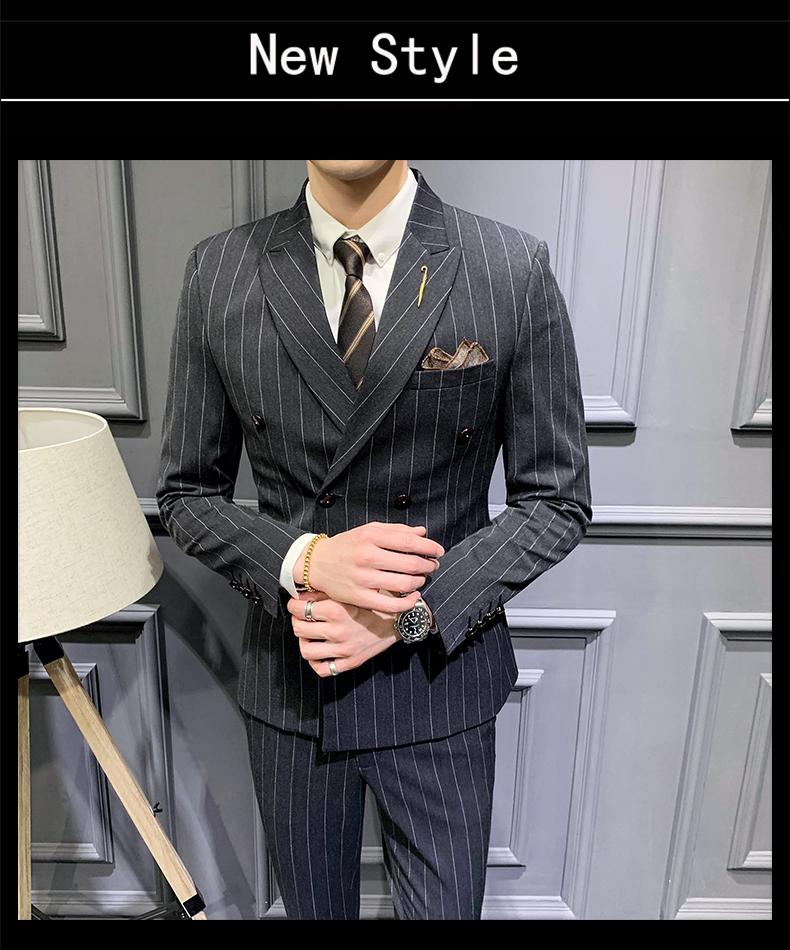 【送衬衫领带领结】深灰修身双排扣新郎结婚三件套西服套装伴郎服