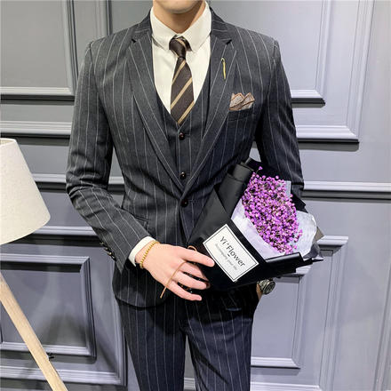 【送襯衫領帶領結】藏青修身一??坌吕山Y婚三件套西服套裝伴郎裝