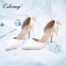 法式小羊皮白色缎面蝴蝶结婚鞋