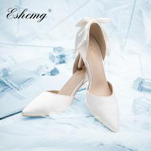 【可定制姓名婚期】法式小羊皮白色缎面蝴蝶结婚鞋