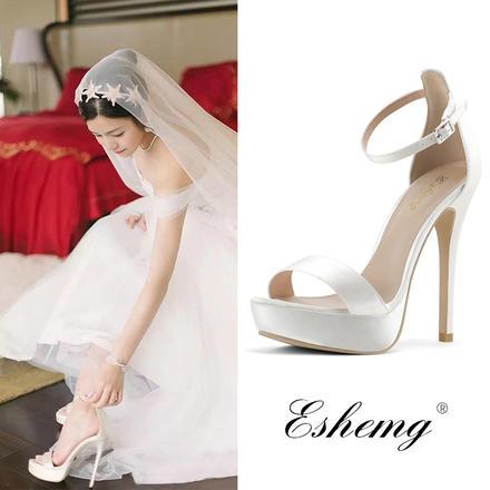 白色一字带防水台缎面婚鞋