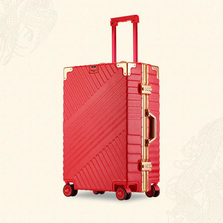 红色古典金属边婚嫁拉杆箱