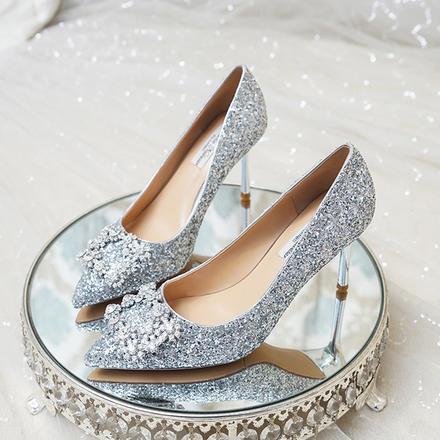 银色水钻方扣水晶亮片高跟鞋