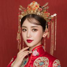 秀禾服头饰2019新款古装头饰结婚中式新娘红色流苏发饰套装