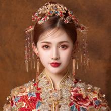 秀禾服头饰2019新款古装头饰结婚中式红色流苏发饰套装旗袍