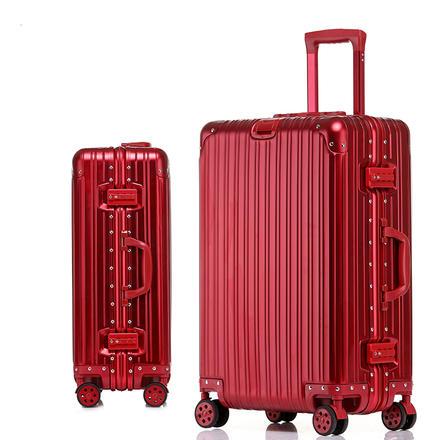 全铝镁合金时尚镜面拉杆箱陪嫁行李箱