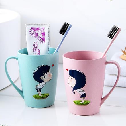 【一对装】卡通情侣漱口杯 赠牙刷2支