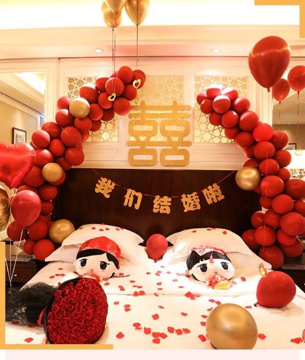 气球装饰婚房布置图片3