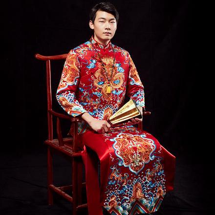 龙纹奢华新郎中式礼服