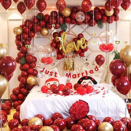 婚房布置寶石紅氣球裝飾套餐