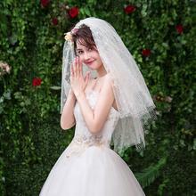 时尚头纱!新娘头纱超仙拍照道具头饰短款简约白色多层蕾丝森系
