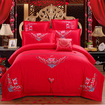 名门世家大红床品全棉多件套