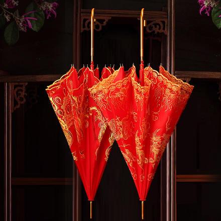 佳偶天成双层蕾丝新娘红伞
