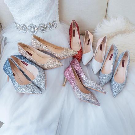 6色可选 经典水晶婚鞋高跟亮片礼服鞋
