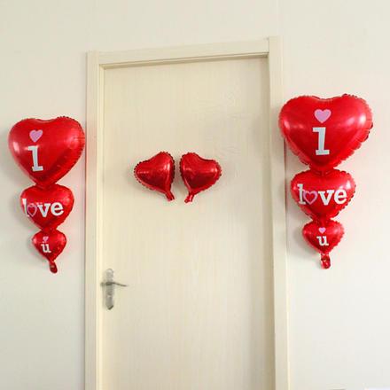 房门爱心铝膜气球串