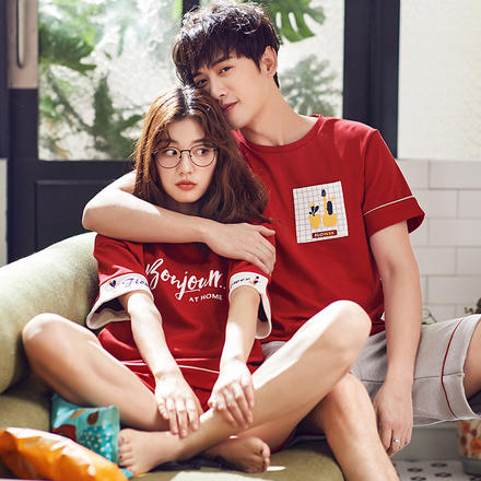 夏季纯棉短袖韩版情侣睡衣全棉睡裙薄款家居服两件套装