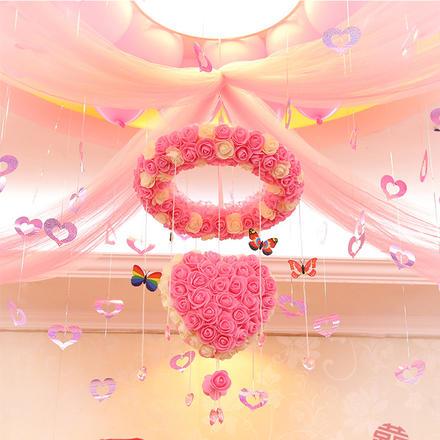 爱心花环婚房布置纱幔套装