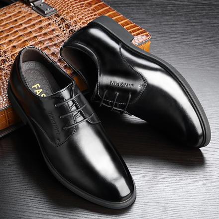 低调简约头层牛皮低帮皮鞋商务正装新郎婚鞋