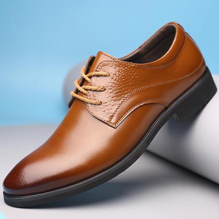 经典舒适尖头男士休闲商务皮鞋