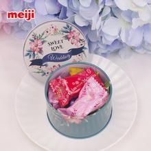 meiji明治雪吻夹心巧克力6粒铁盒圆罐含糖