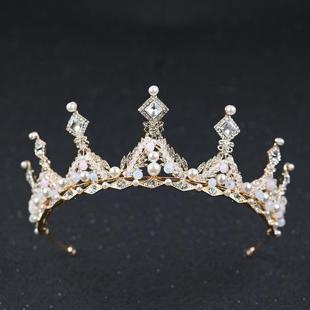 欧美教堂风巴洛克金色镶钻新娘皇冠