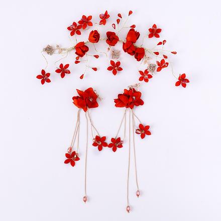 中式红色合金镶钻新娘头饰套装