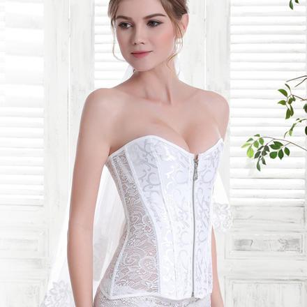 夏季薄款透气蕾丝鱼骨婚纱内搭塑身衣