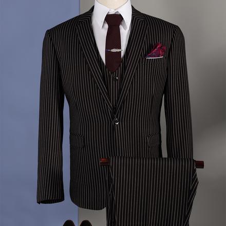 【送衬衫领结领带】男士条纹免烫结婚西服套装