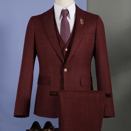男士英伦贵族格子西服套装
