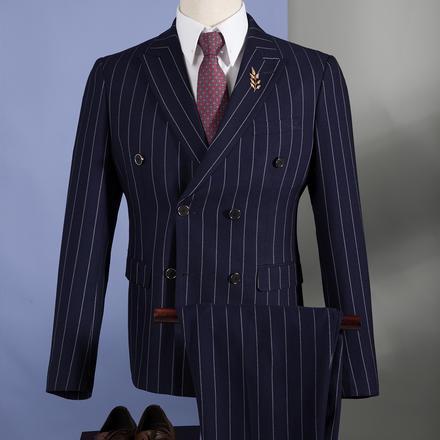 男士条纹双排扣西服套装