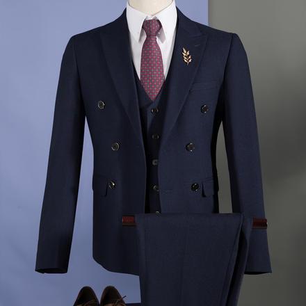 男士纯色双排扣结婚西服套装