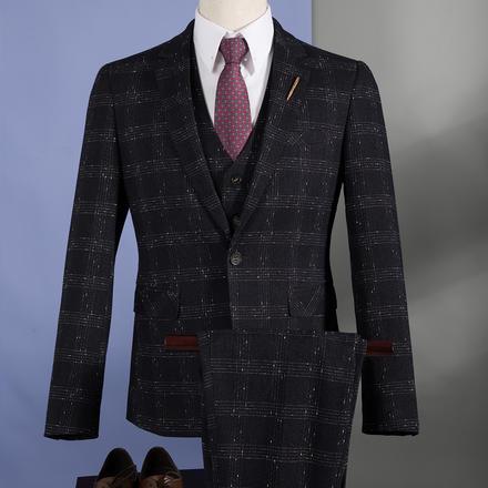 男士密线格纹西服套装